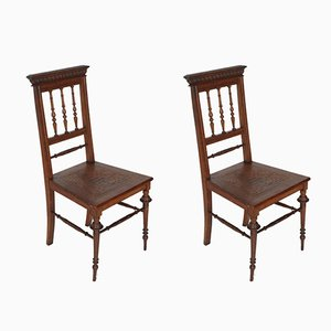 19th Century Turned Walnut Chiavarine Chairs, Set of 2
