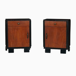 Art Deco Walnut Nightstands, Set of 2