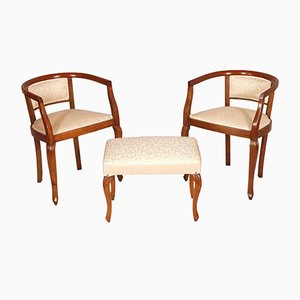 Art Nouveau Italian Walnut Hand-Carved Armchairs & Stool Set, 1910s