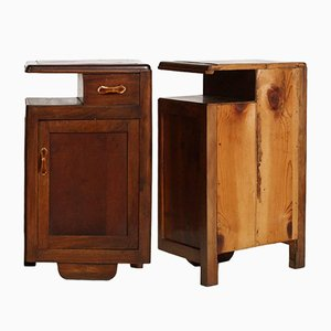 Art Deco Walnut Nightstands, 1920s, Set of 2