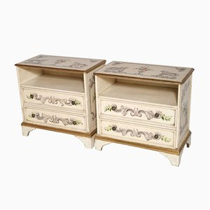 Venetian Mid-Century Decorated & Laquered Nightstands, Set of 2