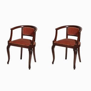 Art Nouveau Hand-Carved Walnut & Fabric Pozzeto Chairs, 1910s, Set of 2