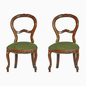 Antique Baroque Walnut & Velvet Side Chairs, Set of 2