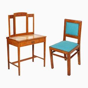 Tocador modernista de cerezo y mármol con silla y espejo