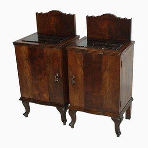 Antique Walnut and Black Marble Nightstands, Set of 2
