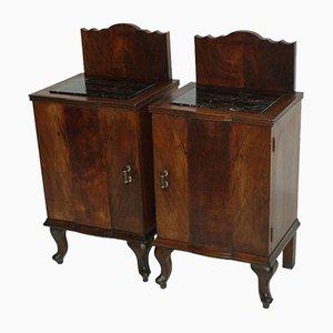 Tables de Chevet Antiques en Noyer et Marbre Noir, Set de 2