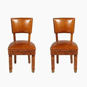 Art Deco Burl Walnut & Leather Chairs, Set of 2