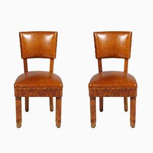 Chaises Art Deco en Noyer et Cuir, Set de 2