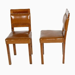 Art Deco Walnut & Leather Side Chairs, 1920s, Set of 2