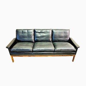 Scandinavian Black Leather Sofa, 1960s