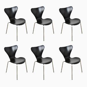 3107 Chairs by Arne Jacobsen for Fritz Hansen, 1971, Set of 6