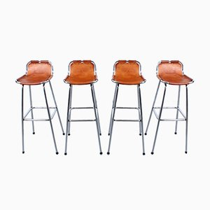 Leather & Chrome Les Arcs Bar Stools by Charlotte Perriand, 1960s, Set of 4