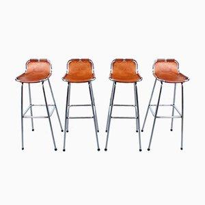 Taburetes de bar Les Arcs de cuero y cromo de Charlotte Perriand, años 60. Juego de 4
