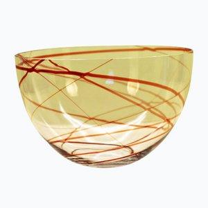 Scodella in vetro soffiato a mano di Vicke Lindstrand per Kosta, anni '50