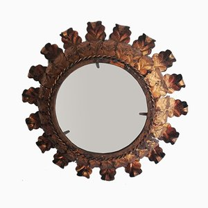 Vintage Gilded Wrought Iron Sunburst Mirror, 1960s
