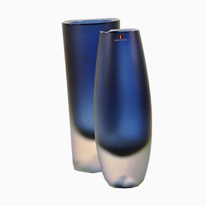 Hand Blown Glass Vases by Erkki Vesanto for Iitala, 1960s, Set of 2
