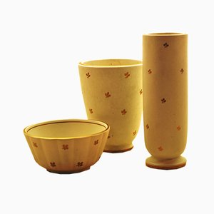 Scodella Carrara vintage in ceramica e due vasi di Wilhelm Kåge per Gustavsberg
