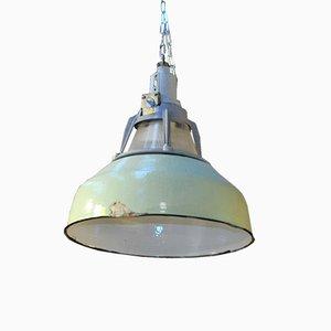 Industrielle Fabriklampe aus Metall & Glas, 1940er