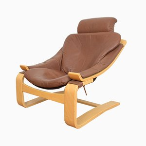 Kroken Leather Lounge Chair by Åke Fribyter for Nelo Möbel, 1970s