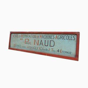 Cartel vintage de madera y metal, años 30