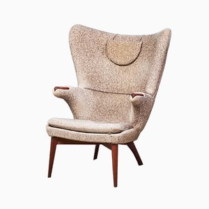 Danish Modern Wool & Teak Lounge Chair, 1960s