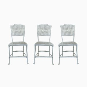 Vintage Perforated & Riveted Metal Garden Chairs, 1930s, Set of 3