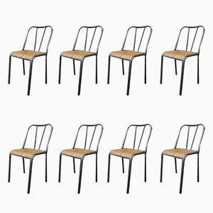 Vintage Metal & Wood School Chairs, 1950s, Set of 8