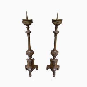 Antike französische Kerzenhalter aus Messing, 1880er, 2er Set