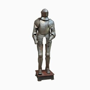 Metal Suit of Armour on Wooden Base, 1950s