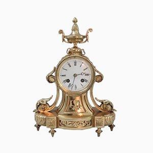 Reloj de repisa francés dorado de bronce de Japy Freres, década de 1890