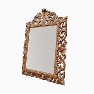 Antiker hölzerner Rocaille Spiegel im Louis XIX Stil