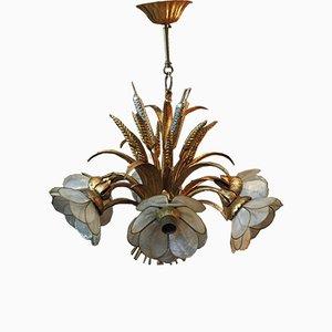 Lámpara de araña de metal dorado, años 70