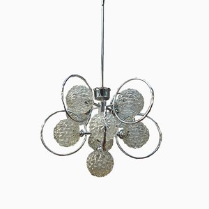 Vintage Chrome and Glass Chandelier with Balls