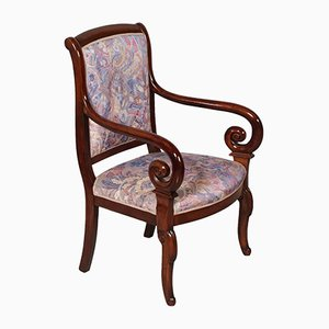 Antique Empire Style Carved Mahogany Armchair
