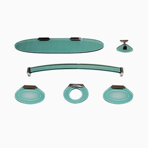 Juego de cuarto de baño de acero y vidrio de Fontana Arte, años 60