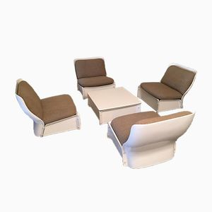 Vintage Table & 4 Lounge Chairs Set, 1970s