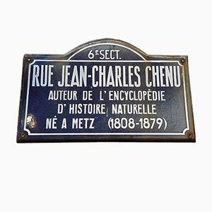 Placa de calle francesa esmaltada, años 50
