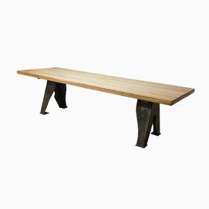Großer industrieller Tisch mit Platte aus Eiche, 1940er