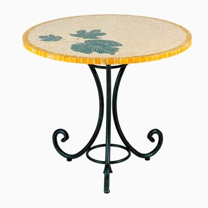 Round Italian Smeraldo Marble Mosaic Table by Egram