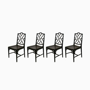 Faux Bamboo Chippendale Chairs, 1970s, Set of 4