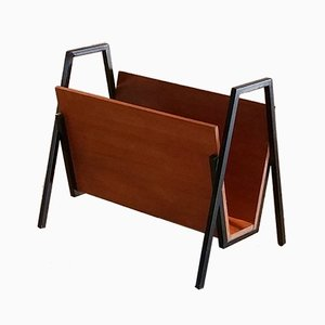 Teak & Black Metal Magazine Rack, 1960s