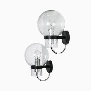Large Bubble Glass Wall Lights, 1960s, Set of 2