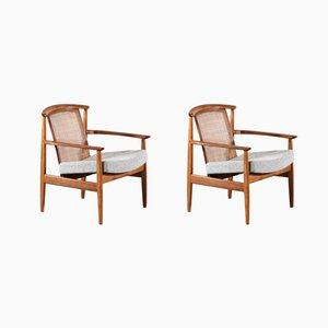 Scandinavian Lounge Chairs with Cane Backrest, 1960s, Set of 2