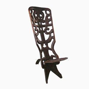 Afrikanischer Vintage Palaver Stuhl, 1940er