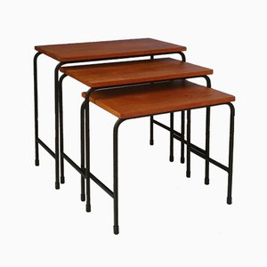 Teak and Metal Nesting Tables, 1950s