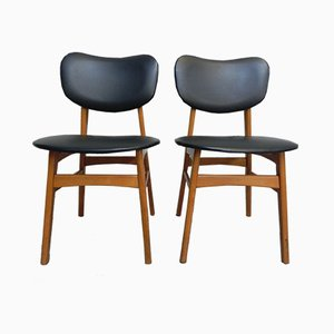 Vintage Beech and Skai Dining Chairs, 1960s, Set of 2