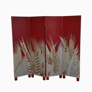 Art Deco Style Wooden Folding Screen Room Divider, 1970s