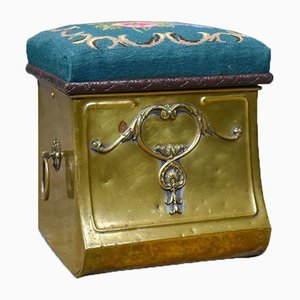 Victorian Brass Coal Bin Stool with Needlepoint, 1880s