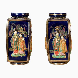 Antike japanische Keramikvasen, 2er Set