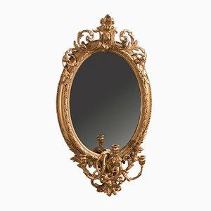 Antiker vergoldeter Girandole Gesso Spiegel, 1800er